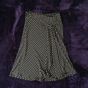 BCBGMaxAzria B&W Polka Dot Midi Skirt w/ High Slit